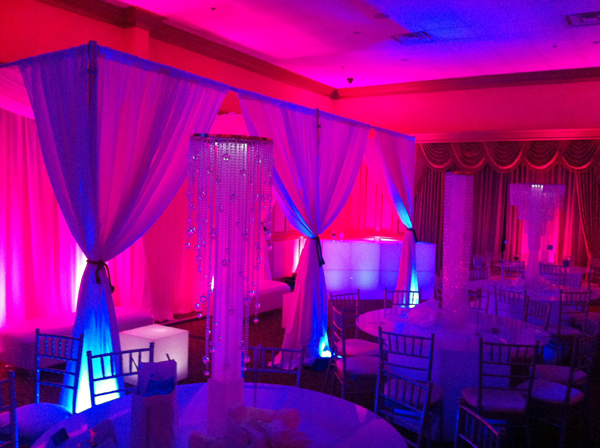 DJUSA's cabanas, centerpieces and kinetic lighting in action